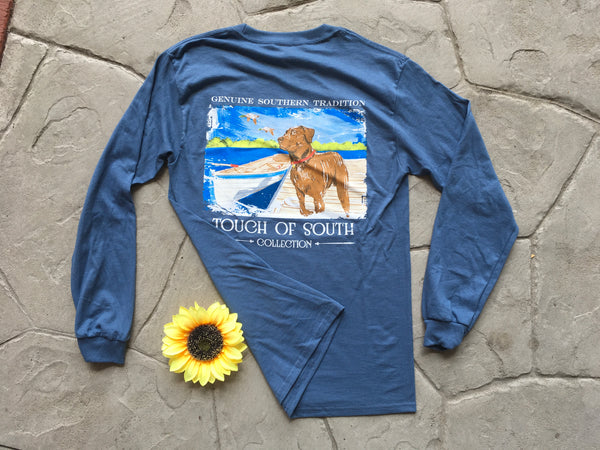 Dog & Ducks. Dusty Blue. Long Sleeve.