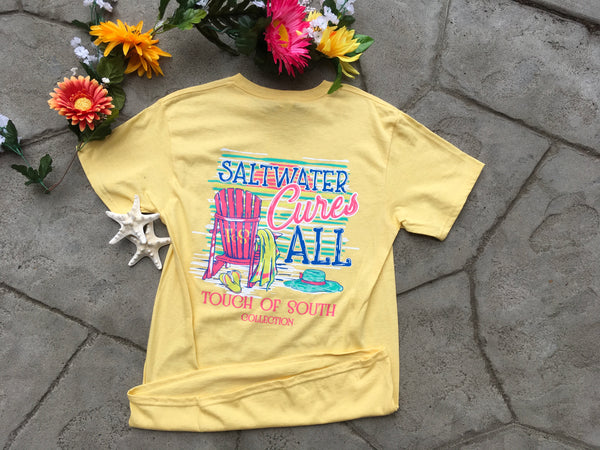 Salt Water Cures All... Short Sleeve. Yellow.