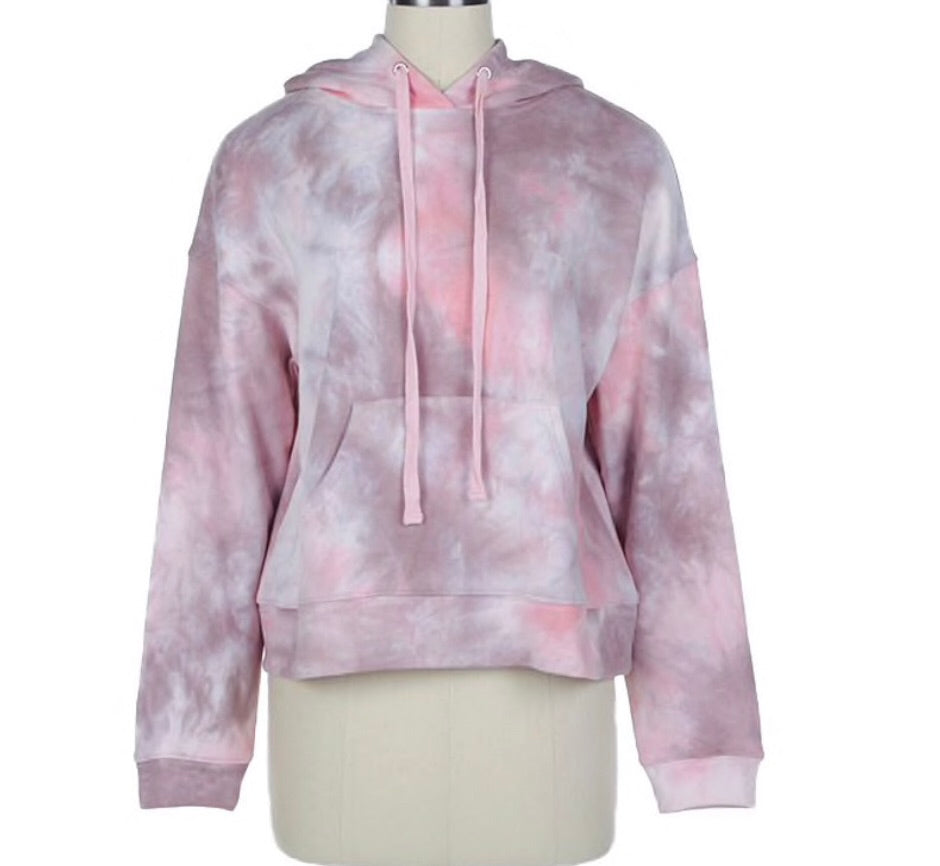 Pink Tie Dye Hooded Pullover with Pocket on Front by LE LIS