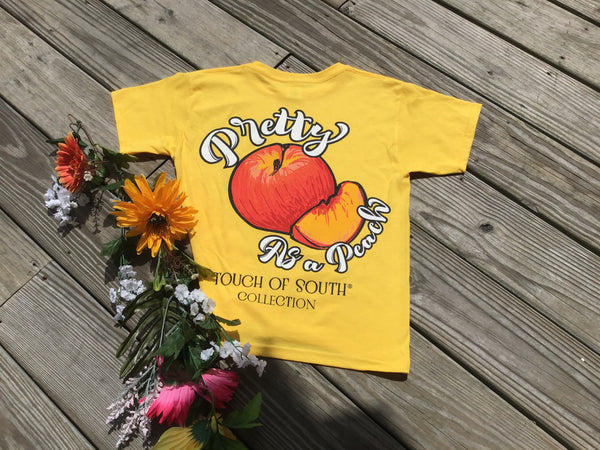 YOUTH. Pretty As a Peach. Yellow. Short Sleeve. Southern.