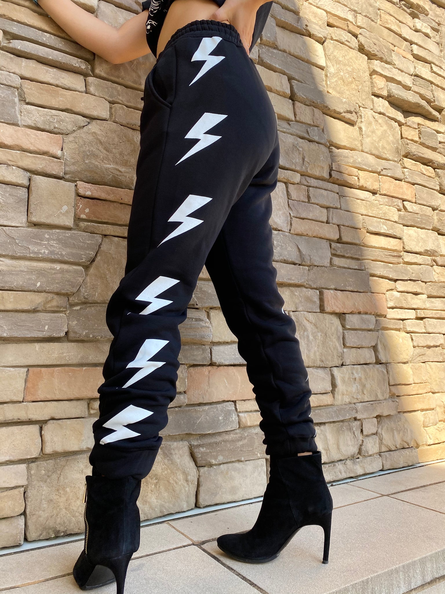 BOLT... Black, Women's Sweatpants/ Joggers with Pockets by Touch of South