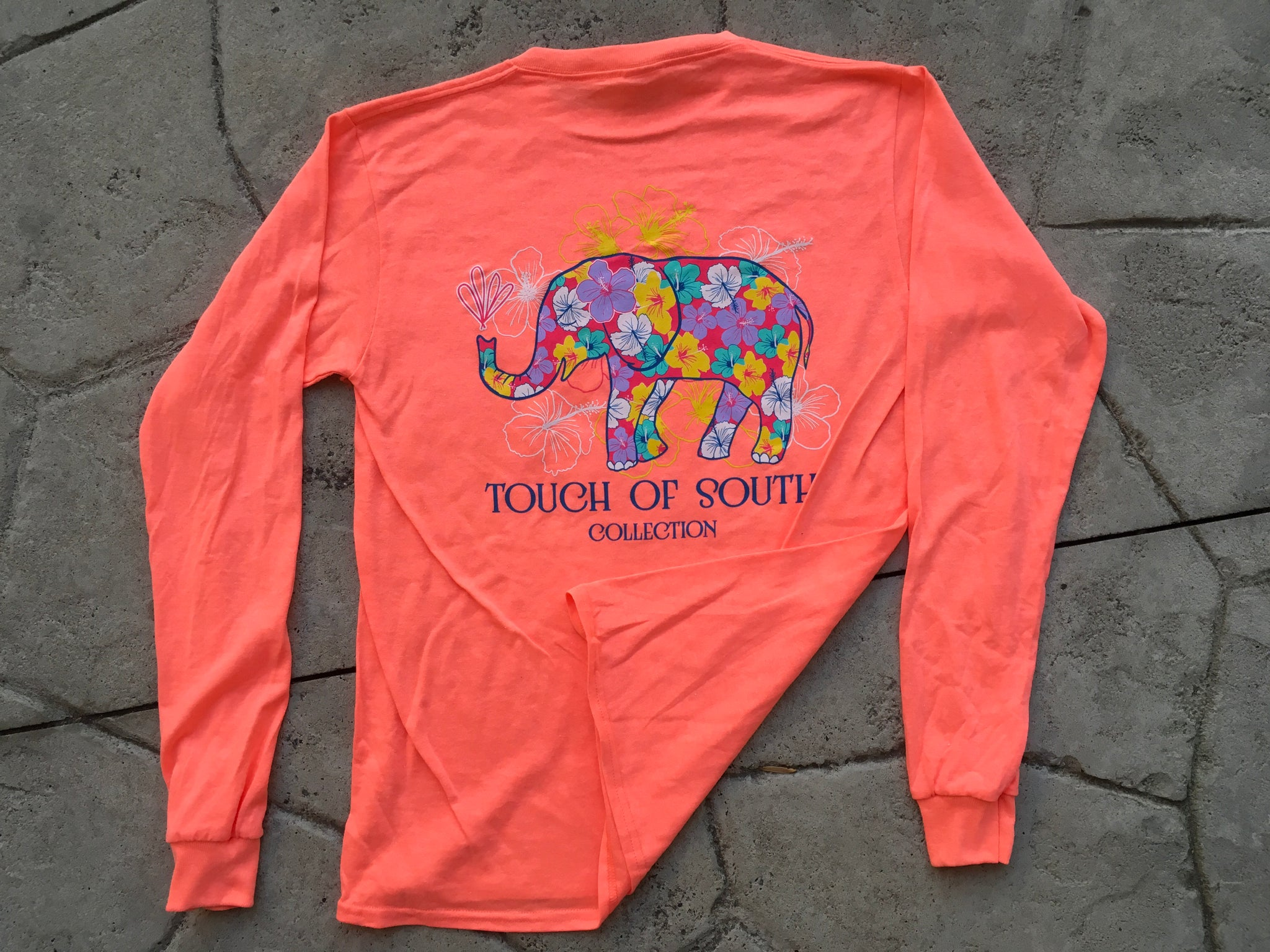 Floral Elephant.. Long Sleeve. Neon Pink.