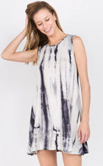 Knit Tie Dye Swing Short  Dress with Pockets. Grey.