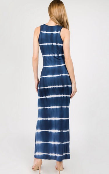 Knit Tie Dye Maxi Dress. Navy.