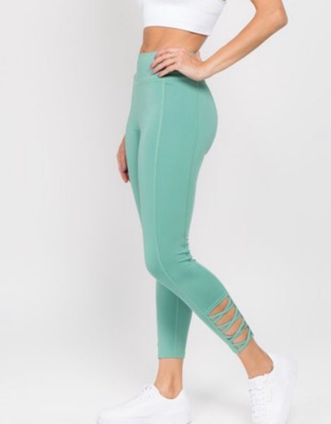 Women's Active Lattice Ankle Cutout Workout Leggings. Dusty Jade.