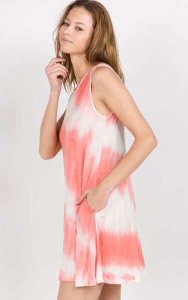 Knit Tie Dye Swing Dress with Pockets. Coral.