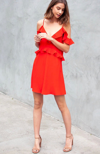 Nicoya Ruffle Dress. Tomato Color.