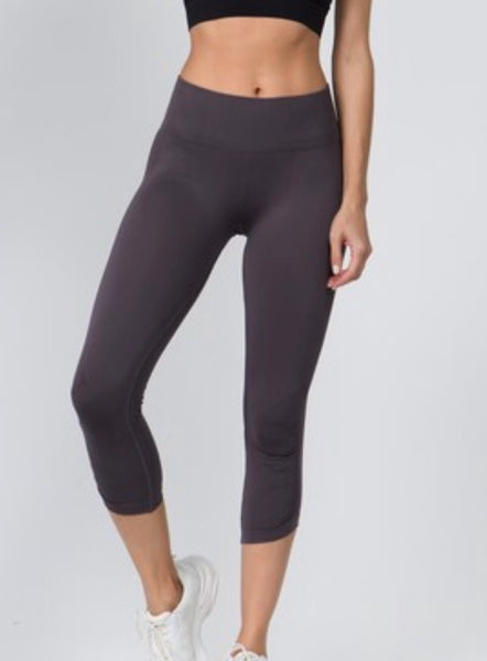 Women's Active High Rise Cinched Ankle Seamless Leggings. Shark.