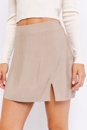 TENCEL BIAS MINI SKIRT WITH SLIT by LE LIS