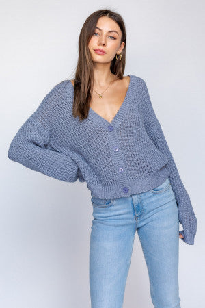 V-Neck Sweater Cardigan Dusty Blue