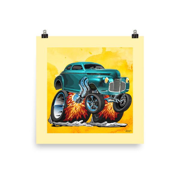Smokin' Hot 41 Chevy Coupe Hot Rod Photo Paper Poster