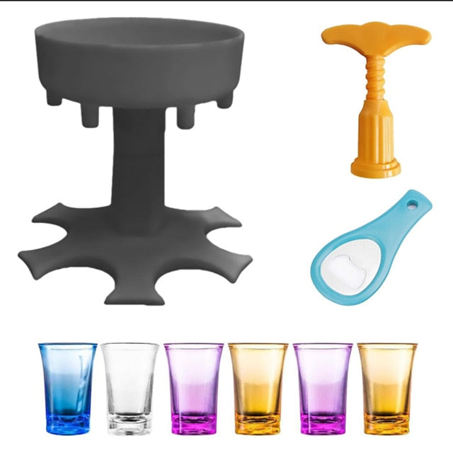 6-Shot Glass Dispenser Holder Wine Whisky Beer Dispenser Rack Bar Accessory Drinking Party Games Glass Dispenser Drinking Tools