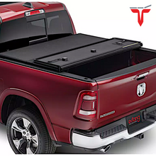"Load image into Gallery viewer, EXTANG 83426 SOLID FOLD 2.0 Hard Folding Truck Bed Tonneau Cover | Fits 2019-20 Dodge RAM W/Rambox ""New Body Style,"" Fits with and without Multi-Function (Split) Tailgate 6'4"" Bed"