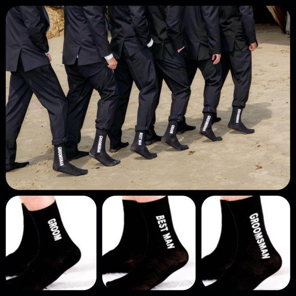 Groomsmen Socks - Set of Printed Grooms Party Socks - SALE!!!