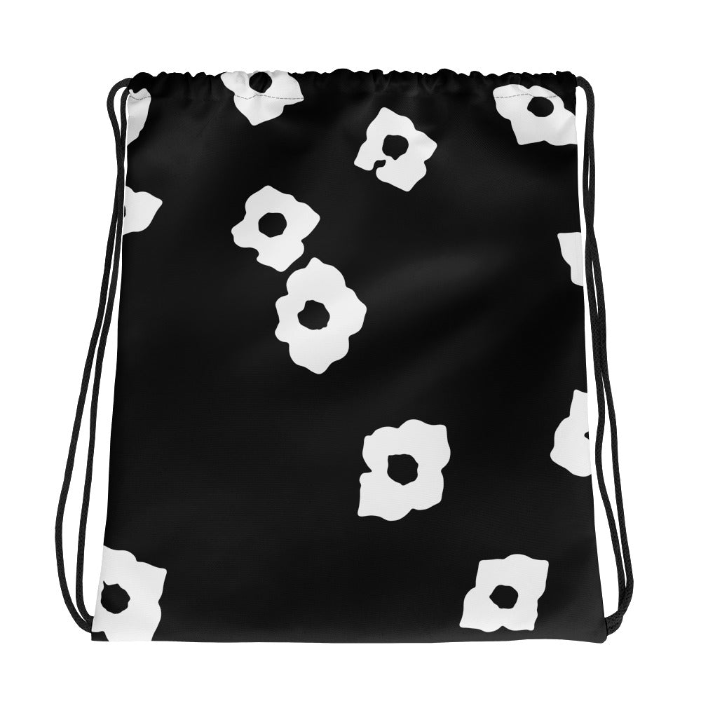 White Cornus Canadensis Black Drawstring Bag