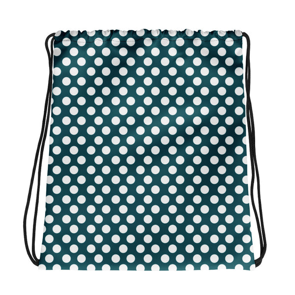 Small Dots Drawstring Bag Blue Green