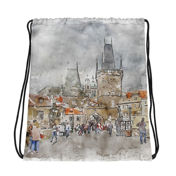 Prague Charles Bridge Drawstring Bag