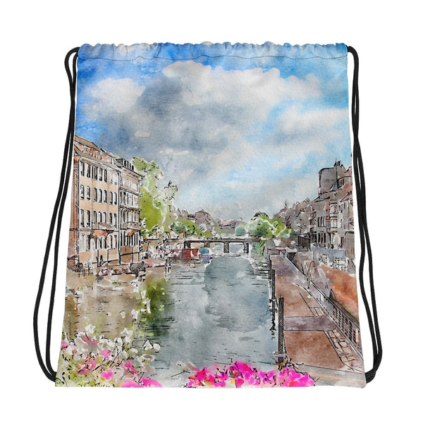 Strasbourg Bridge Drawstring Bag
