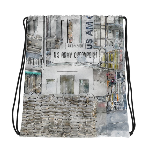 Checkpoint Charlie Berlin Drawstring Bag