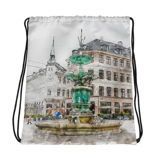 Stork Fountain Drawstring Bag