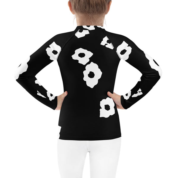 White Cornus Canadensis Kids Rash Guard