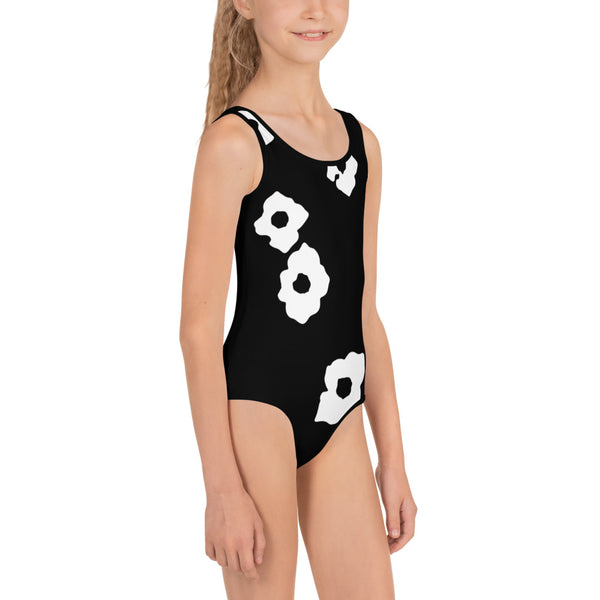 White Cornus Canadensis All-Over Print Kids Swimsuit