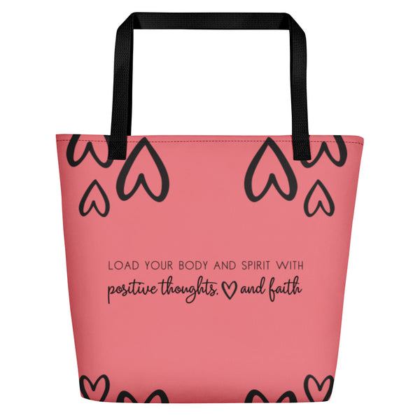Positive Thoughts Pink Orange Beach Bag CC