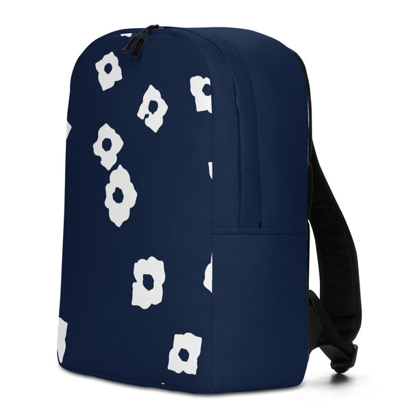 White Cornus Canadensis Navy Minimalist Backpack