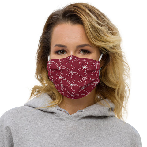 CS Flower Face Mask Dark Red