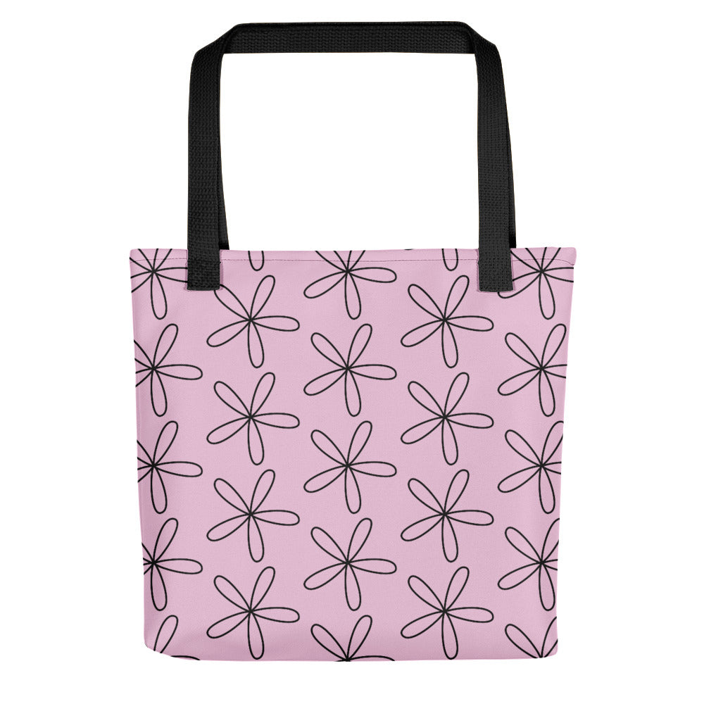 Black CS Flower Tote Bag Light Pink