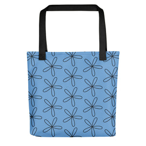 Black CS Flower Tote Bag Light Blue Sky