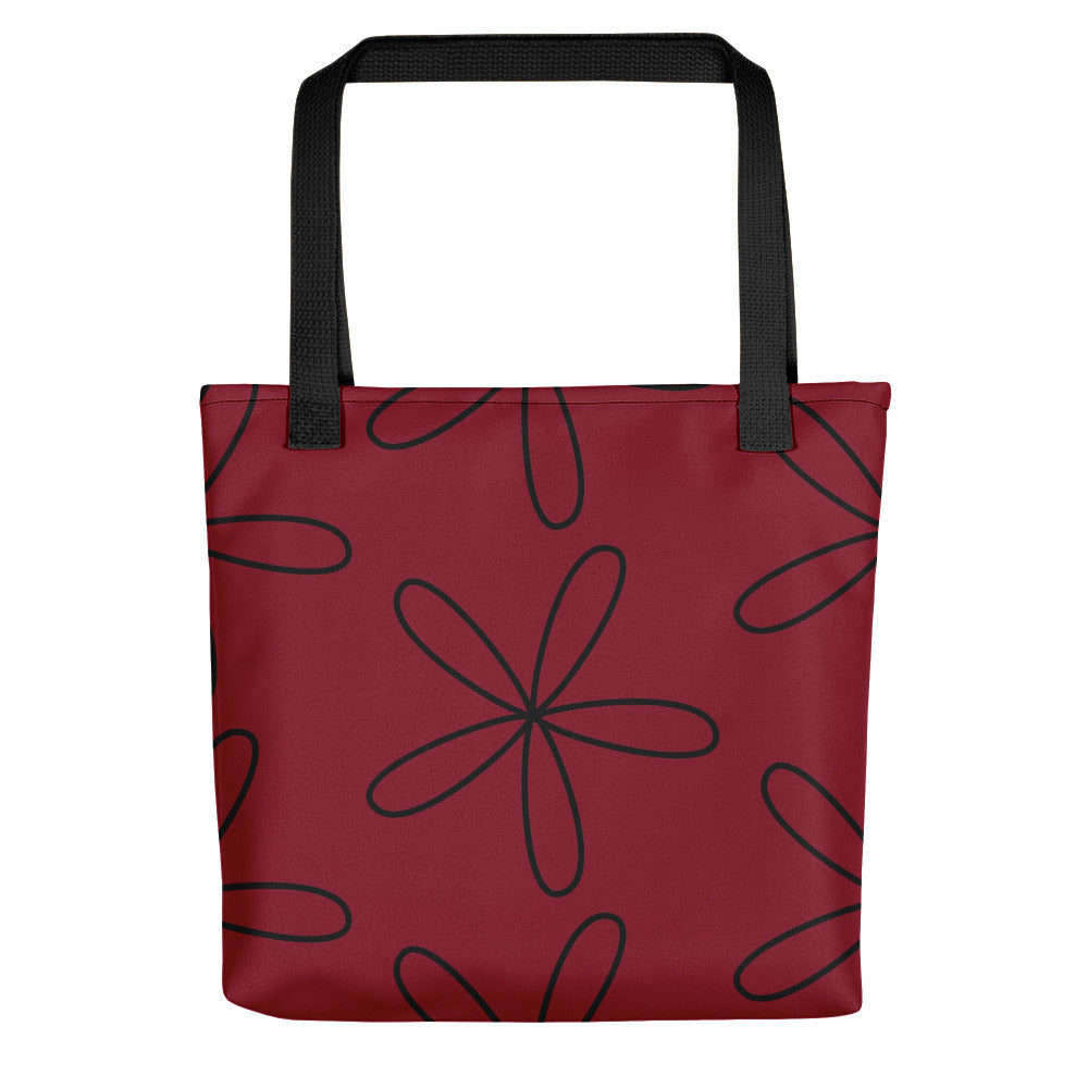 Big CS Flower Tote Bag Dark Red
