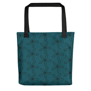 Black CS Flower Tote Bag Blue Green