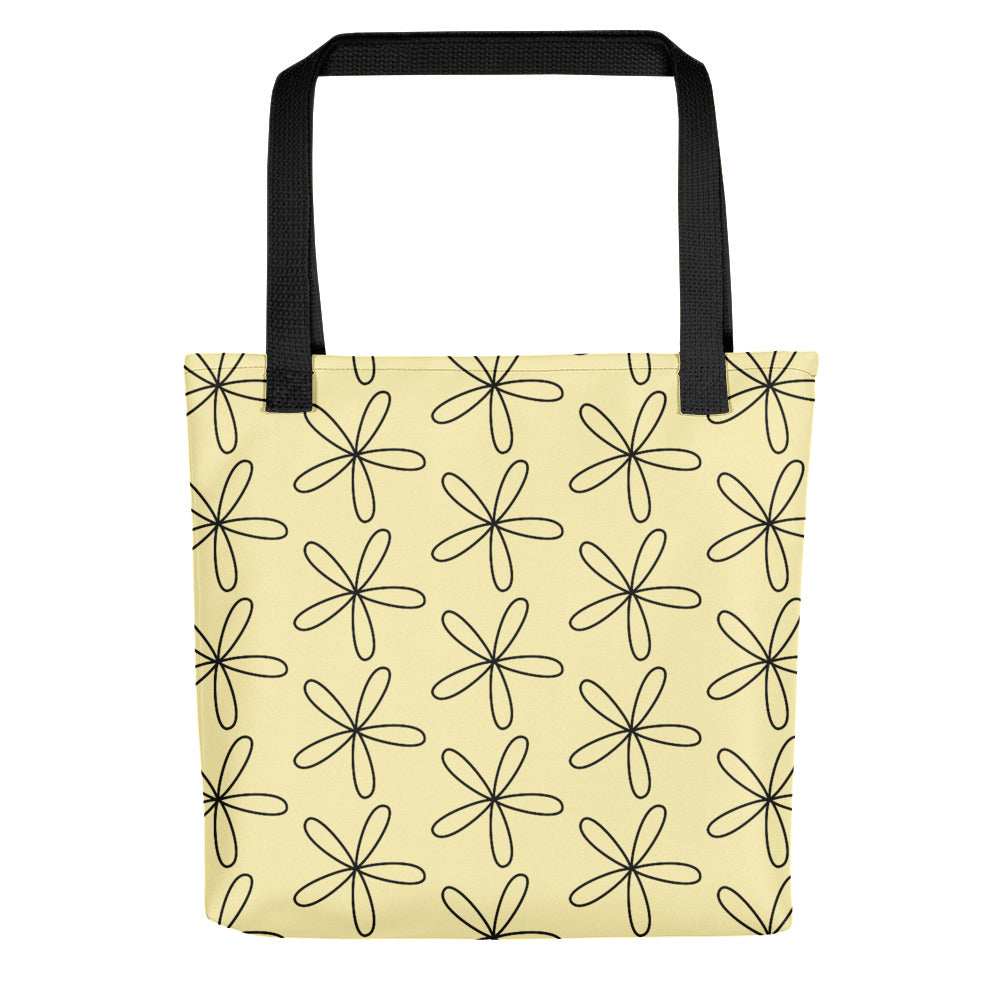 Black CS Flower Tote Bag Light Yellow