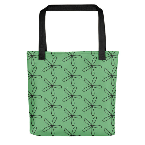 Black CS Flower Tote Bag Dusty Green
