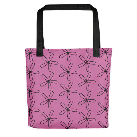 Black CS Flower Tote Bag Fuchsia