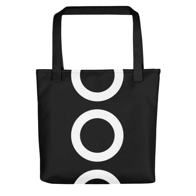 Black With Big White Circles Tote Bag 15