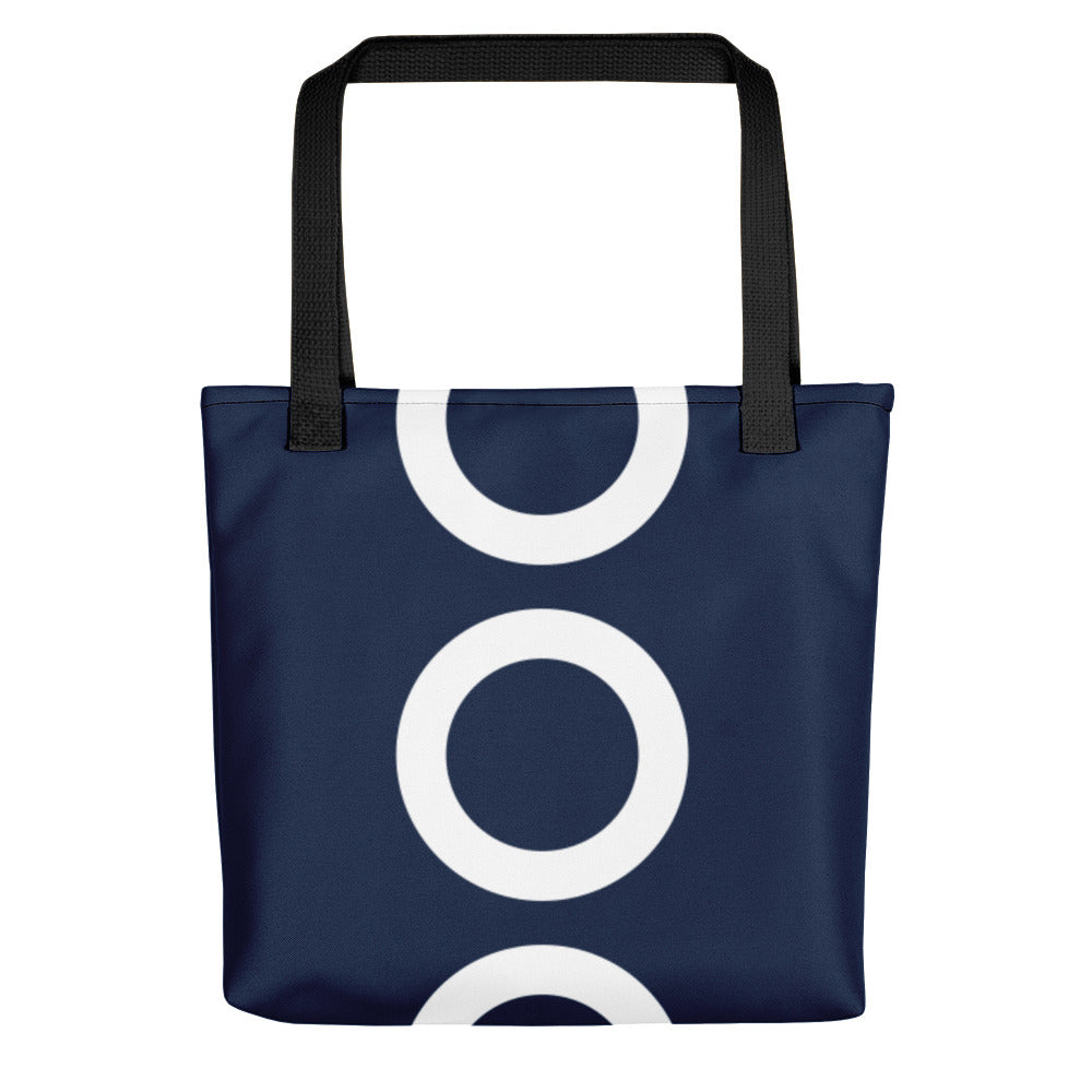 Navy With Big White Circles Tote Bag 15