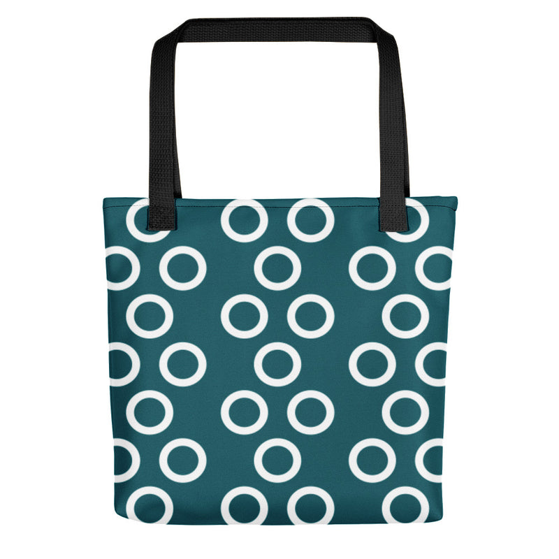Blue Green With White Circles Tote Bag 08