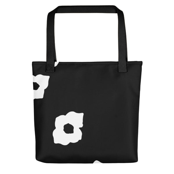 White Cornus Canadensis Black Tote Bag Front+Back