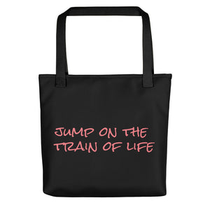 Jump On The Train Of Life Tote Bag Black Pink Orange CC