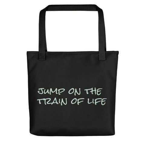 Jump On The Train Of Life Tote Bag Black Mint Green CC
