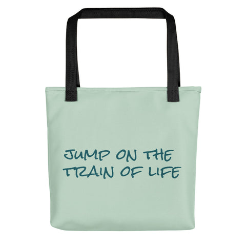 Jump On The Train Of Life Tote Bag Mint Green CC