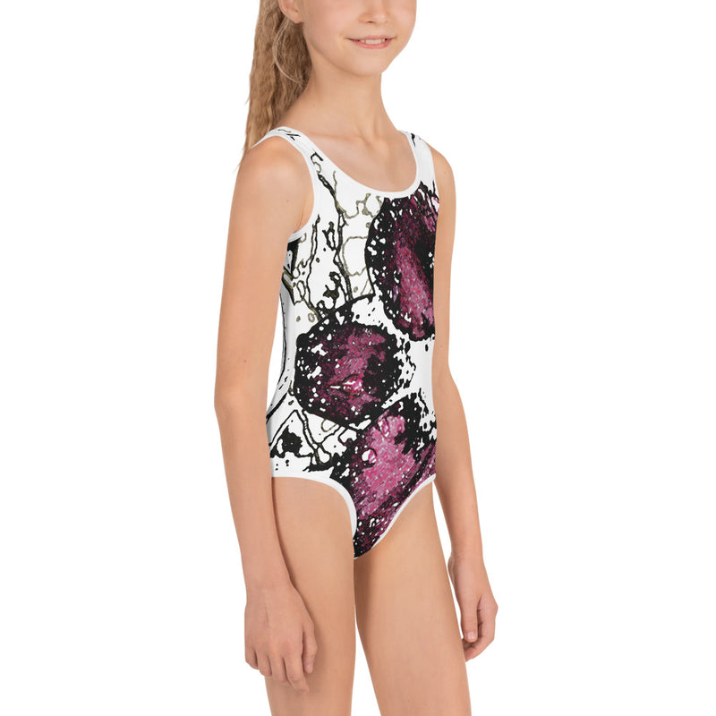 Chocolate Cosmos 3 All-Over Print Kids Swimsuit - Camilla Simonsen