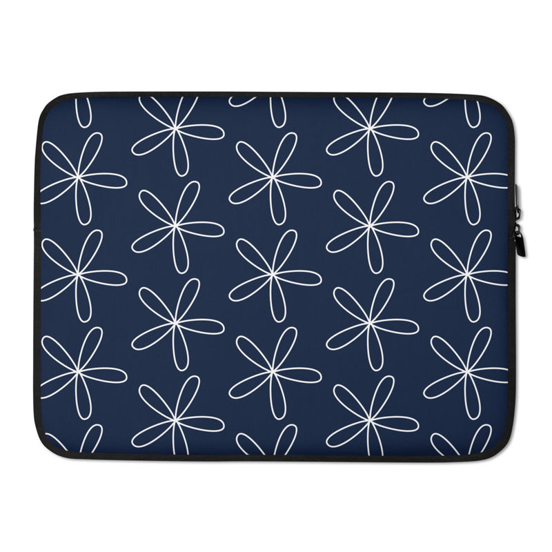 CS Flower Laptop Sleeve Navy - Camilla Simonsen