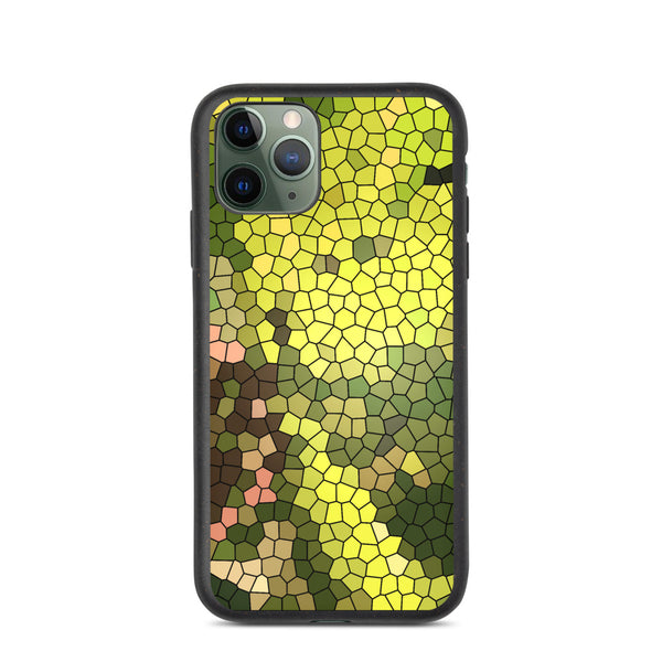 Golden Spirit Leaves Mosaic Biodegradable iPhone Case - Camilla Simonsen