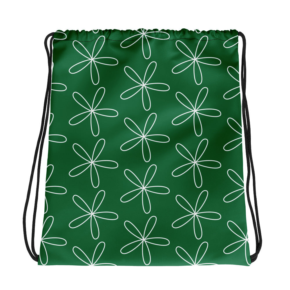 CS Flower Drawstring bag dark green - Camilla Simonsen