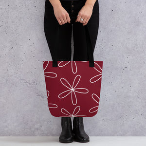 Big CS Flower Tote bag dark red - Camilla Simonsen