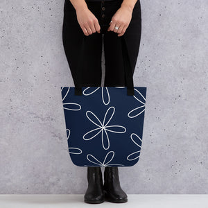 Big CS Flower Tote bag navy - Camilla Simonsen