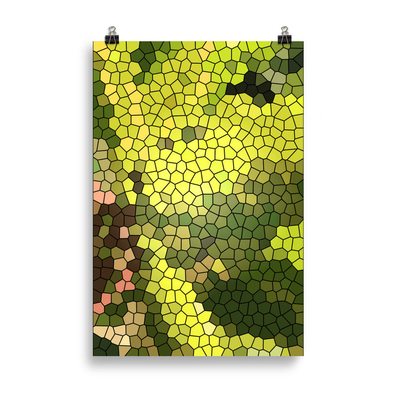 Golden Spirit Leaves Mosaic Poster - Camilla Simonsen
